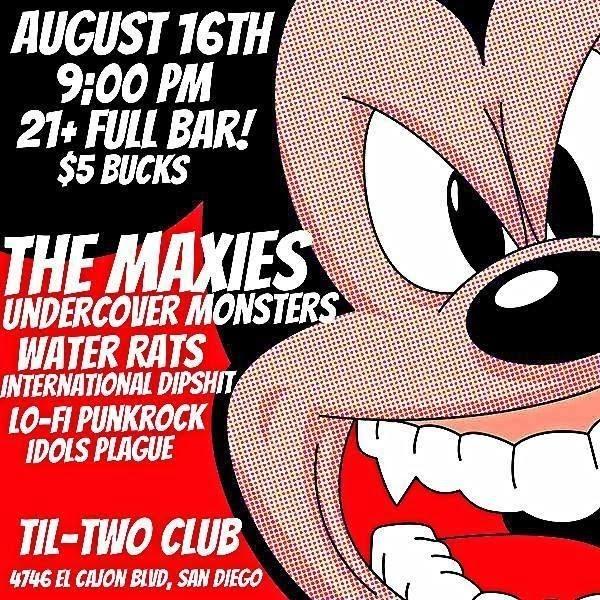 Flyer do show do Lo-Fi e Water Rats em San Diego, Califórnia